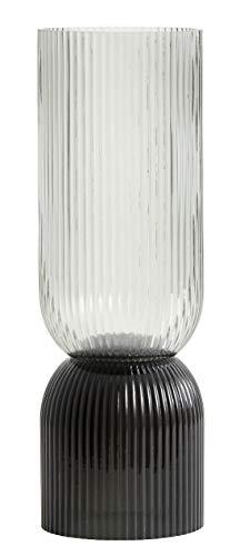 Nordal Vase Riva geriffelt in Schwarz-Grau, H: 36,50 cm aus Glas, auch als Kerzenhalter verwendbar