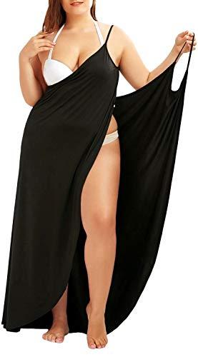 ASKSA Damen V-Ausschnitt Rückenfrei Strandkleid Wickelkleid Spaghettiträger Bikini Cover Up Beach Wrap Langes Kleid Midi Kleider S~5XL(Schwarz,L)