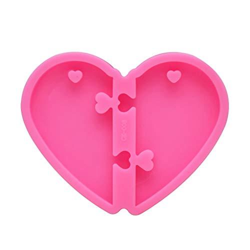 SUCHUANGUANG Valentinstag Herz Anhänger Schlüsselbund Harz Casting Form Puzzle Herz Liebe Form Schlüsselbund Anhänger