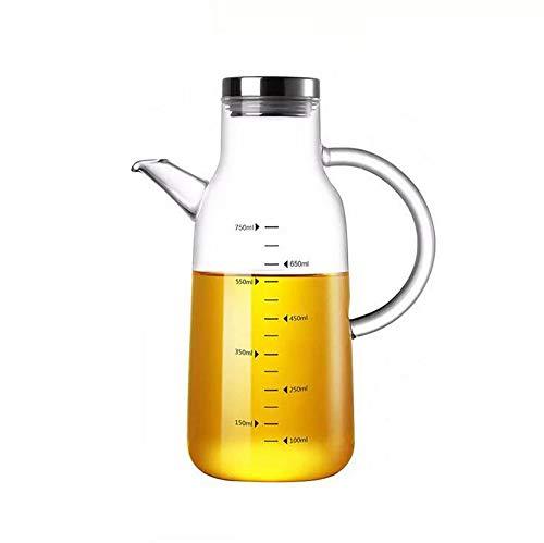 Bottiglia per dispensatore di olio, bottiglia per contenitori da cucina Dispenser per olio di oliva in vetro da 750ml Bottiglia per erogatore di alimenti antigoccia con scala e impugnatura antiscivolo