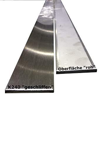 Rostfritt stål platt material V2A platt stång platt järn VA platt stål slipad 50 x 3 mm x 1.500mm (ungeschliffen)