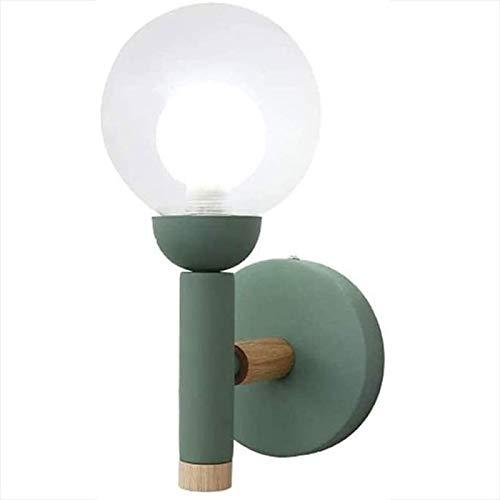 Rindasr rubberen wandlamp van hout, 360 graden hoek, eenvoudige lampenkap van glas, rond, voor kinderkamer en studio's