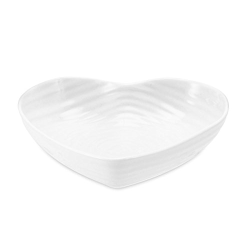 Portmeirion Home & Gifts CPW76570-X Small Heart Bowl, Porcelain, White, 15 x 15.7 x 3.4 cm