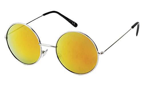 Chic-Net Sonnenbrille Round 40er Jahren-Style 400 UV Metall silbern verspiegelt Steg lang orange