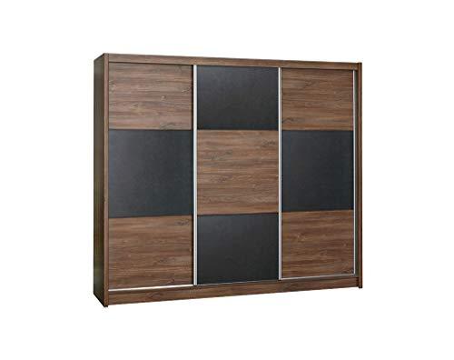 Furniture24_eu Kleiderschrank Schwebetürenschrank Schlafzimmerschrank Cordoba (Sterling Eiche/Braun Beton)