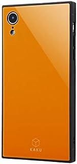 iPhone XR ケース 耐衝撃 ガラスケース KAKU スクエア型 カバー/オレンジ