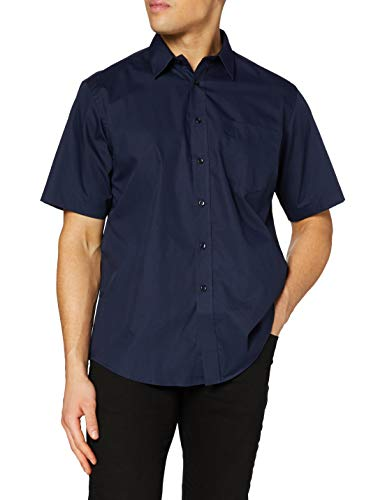 Fruit of the Loom Herren Poplin Short Sleeve Freizeithemd, Navy, M