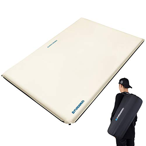 FUNDANGO Premium Double Wide Self Inflating Camping Sleeping Pad Foam Air Mattress (78 × 51.2 inch), Portable Lightweight Large Self Inflatable Camping Mattress for 2 Person, Couples, Waterproof