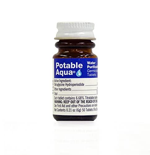 Potable Aqua Germicidal Water Purification Tablets - 50 count Bottle