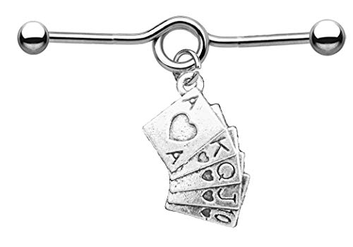 Body Jewellery Shack 22 Different Tibetan Charms on 32mm, 36mm, 38mm Industrial Scaffold Piercing Bar with Dangly Charm Barbell (32, Playing Cards)