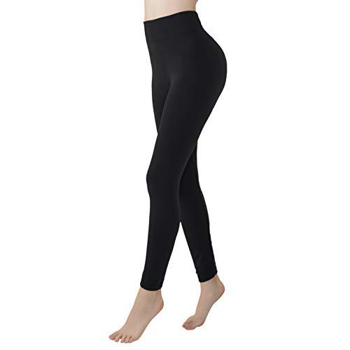 Double Couple Womens Fleece Lined Leggings High Waisted Soft Slimming Winter Warm Leggings Black