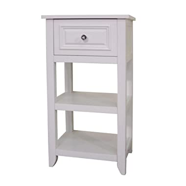 Elegant Home Fashions Dawson Collection Shelved Floor Cabinet with Drawer, White