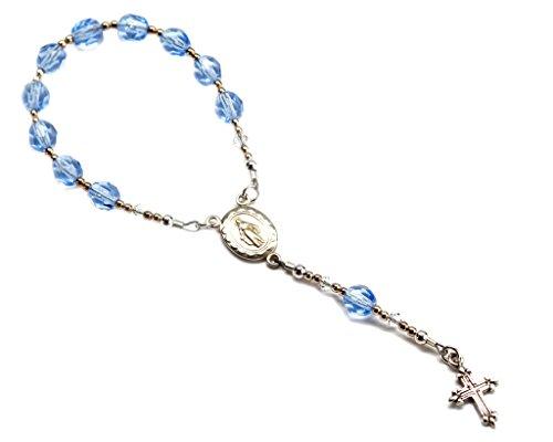 Précieuses pièces de bébé Argent sterling baptême bébé Chapelet en bleu