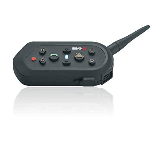 EJEAS E6 Moto Bluetooth Casco Intercomunicador Intercomunicador Auricular, dúplex Completo Moto inalámbrico Interfono Conecte hasta 6 pasajeros, Radio FM/GPS / MP4 / 1200M (1 Pieza)