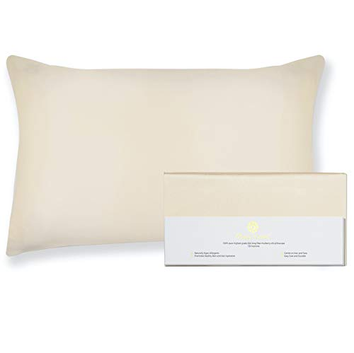 BEAUTY OF ORIENT - 100% Pure Mulberry Silk Pillowcase for Hair and Skin, 19 Momme Both Sides, Hidden Zipper, Natural Hypoallergenic Silk Pillow Case, Best Sleep (1pc Standard - 20' x 26', Vanilla Ice)