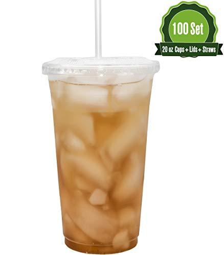 Safeware - Vasos desechables de plástico transparente para llevar con tapas planas y pajitas | Café helado | Té de burbujas | licuado | Batido | Viajes., Transparente, 20 oz