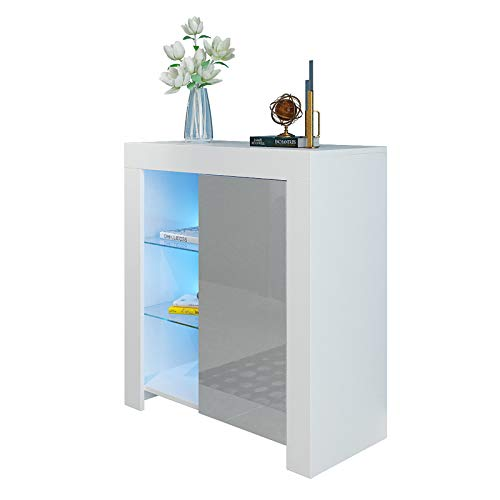 White Gloss Sideboard Cabinet Unit With Storage Cupboard Matt Body & High Gloss Grey Door Glass Shelves Display Cabinet Units for Living Room Dining Room W/Free LED Light