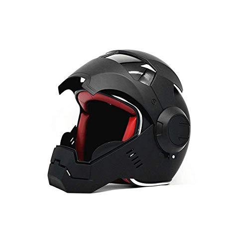 DZTIZI Motorradhelme Full Face Touring Motorradhelm Harley Helm Vintage Helm Iron Man Persönlichkeit Cooler Helm,L