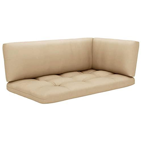 Tidyard Cojines para sofá de palés Cojin para palés Confort - Cojin de Asiento o Respaldo para sofás palets 3 Piezas Beige