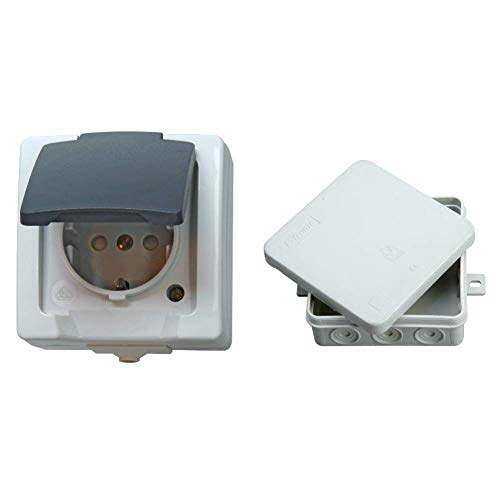 Kopp Nautic Steckdose für Feuchtraum, Aufputz, 1-fach Schutzkontakt-Steckdose mit Deckel & erhöhtem Berührungsschutz, 250V (16A), grau & Abzweigdose Aufputz Feuchtraum, 5-polige Klemmleiste,  grau