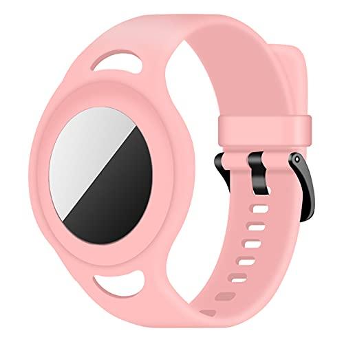 Coholl Funda de Silicona Band Compatible con Airtag Protectora,para Mochilas, para niños o Adultos, Brazalete para Ajustable Locator Tracker Anti-Arañazos GPS Bracelet para AirTag,Rosa
