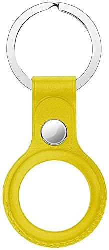 Llavero Airtag, funda de acero inoxidable + llavero de piel europea, compatible con Airtag para niños, mascotas, maleta, llave de coche, amarillo (Amarillo) - ZLYY-CMR1FP-6