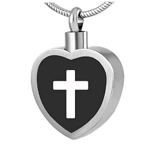 Wxcvz Colgante para Conmemorar Nunca Se Desvanece Corazón Negro con Cruz Collar De Joyería De Cremación Medallón De Urna Conmemorativa De Acero Inoxidable Colgante De Cenizas De Recuerdo