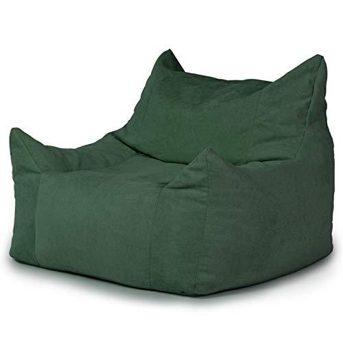 JTRHD Klassischer Sitzsack Große Bagsack Stuhl Sofa Couch Liege High Back Bohn Bag Sessel Für Kinder Außen und Innen (Farbe : Dark Green, Size : One Size)