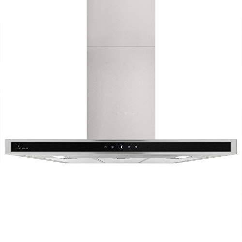 KKT KOLBE Cappa professionale aspirante da cucina / 90 cm/acciaio inox/vetro nero/silenziosa / 4 gradini/illuminazione a LED/tasti sensore TouchSelect/superamento automatico / DELTA9014TC