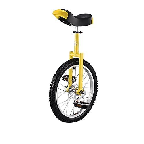 YYLL Monociclos Unichicle Ajustable Amarillo para niños/Adulto, Equilibrio Ejercicio Divertido Bicicleta Aptitud, con Soporte de Unicycle, 16/18/20/24 Pulgadas, Carga 150kg