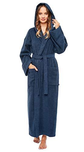 Arus - Albornoz de algodón turco con capucha para mujer,  Azul marino, Small / Medium