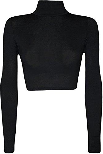 Womens Turtle Neck Crop Long Sleeve Plain Top-Thin Fabric Black-M/L