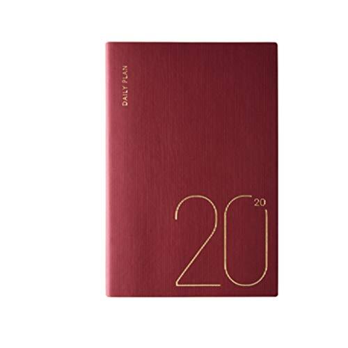 LYLY Cuaderno 2020 A5 Horario de Hoy Espesar Cuaderno Arte Literario Delicado Calendario Cuaderno Cuaderno Cuaderno Cuaderno Cuaderno Eficiencia Línea de Tiempo Diario (Color: Rojo)