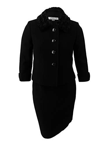 Tahari ASL Women's Petite Faux-Fur-Collar Skirt Suit (0P, Black)