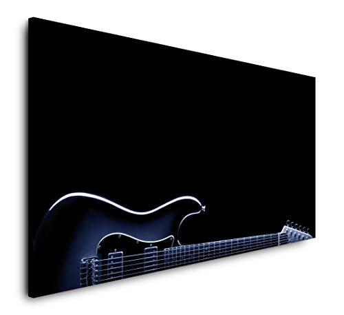 Paul Sinus Art Gitarre in schwarz 120x 60cm Panorama Leinwand Bild XXL Format Wandbilder Wohnzimmer Wohnung Deko Kunstdrucke