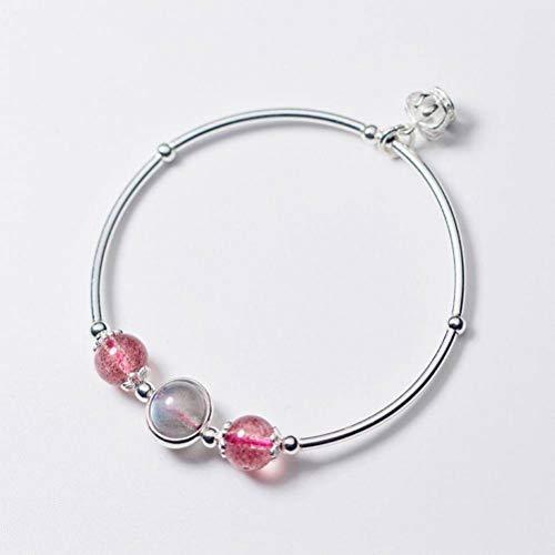 K-Bracelets S925 Pulsera de Plata Femenina Temperamento Coreano Corona Fresa Pulsera de Cristal de Moda de Piedra de Luna Joyería de Cristal, Pulsera de Plata S925