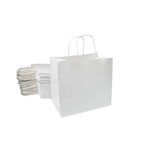 Extiff Lot de Sacs Cabas Papier Cellulose Blanc avec poignées 26x17x24cm Sac de Course Emballage Cadeau (50)