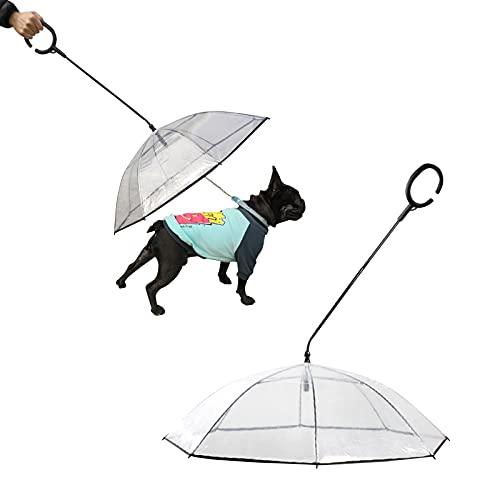 Dog Umbrellas Rain Day, Transparent Pet Dog C-Shaped Umbrella with Leash Holder, Assembly Pet...