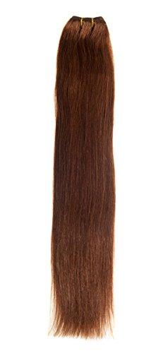 Euro soyeux Tissage 100 g Extensions de cheveux humains | 50,8 cm (Marron chocolat (4)