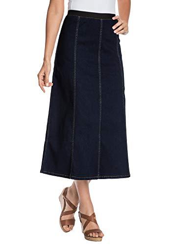Jessica London Women's Plus Size Jegging Skirt Flared Stretch Denim W/Vertical Seams - 24, Indigo