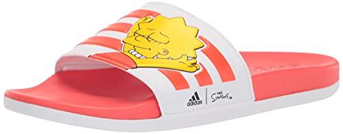 adidas Women's Adilette Comfort Slide Sandal, White/White/Black, 8