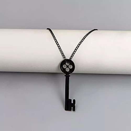 Damen tragen Halsketten mit Anhänger Film Halskette Schmuck Schwarzer Knopf Geheimtür Schlüssel Anhänger Halsketten Cosplay Zubehör Geschenke für Ehefrauen Mütter und Freundinnen Geburtstagsgeschenk