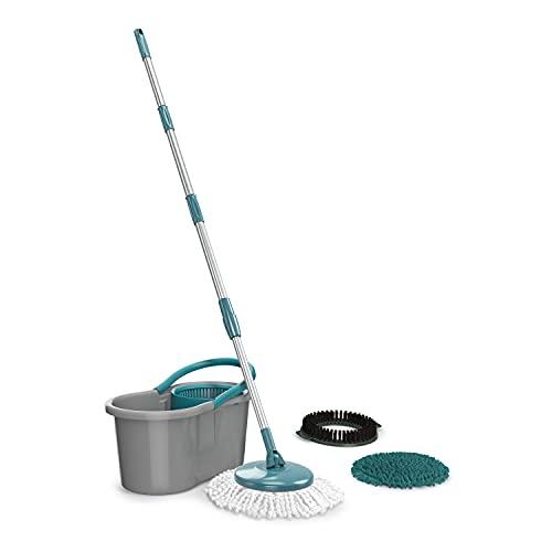 Mop FIT Giratório 3 em 1, balde com 8 Litros e 3 opções de Refis,( microfibra, tira pó e limpeza pesada) MOP9379, Flash Limp