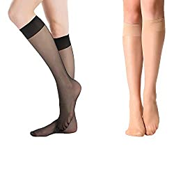 Ultra transparent knee highs with silk soft feels and comfort elastic band Hand wash only and well-designed,silky smooth and remarkably comfortable As sheer as fine hosiery,transparent sandal toe, perfect for wearing with comfortable waistband Extrao...