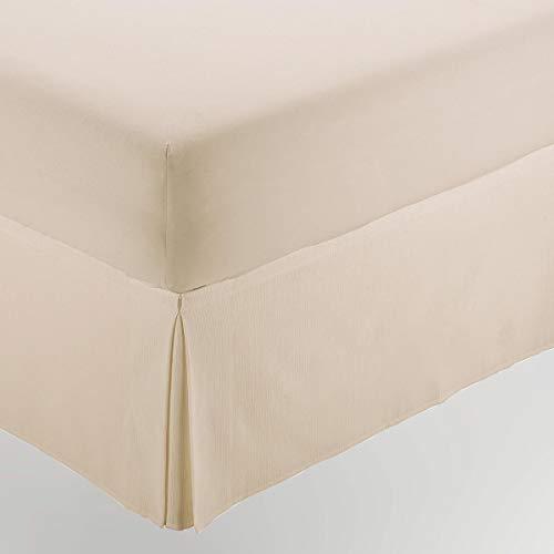 ESTELA - Cubrecanapé Hilo Tintado RÚSTICO Color Crema - Cama de 135 - Alto 35 cm - Tipo Colcha - 50% algodón / 50% poliéster - Medidas: 135 x 190/200 + 35 cm.