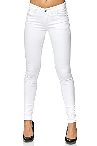 Elara Damen Stretch Hose Push Up Jeans Gummizug Chunkyrayan Y5110 White 36 (S)