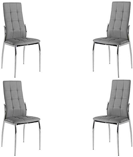 MOMMA HOME Set de 4 Sillas - Modelo Cami - Color Gris/Plata - Material Ecopiel/Metal Cromado - Medidas 46 x 54 x 101 cm