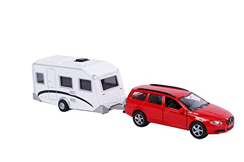 Kids Globe Volvo V70 mit Wohnwagen (Spielzeugauto mit Wohnwagen, Campingfahrzeug, Wohnfahrzeug, Miniaturfahrzeug), 27 cm, mit Rückzugmotor - 521630