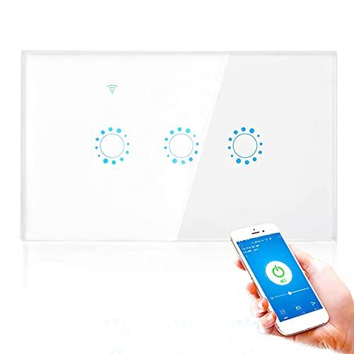 Dioche Interruttore Touch Intelligente Wireless, WiFi 1/2/3 Bande, Interruttore Remoto da Parete per Luci, con App Vocale, con Supporto per Funzione di Sincronizzazione Alexa Echo, G-Home