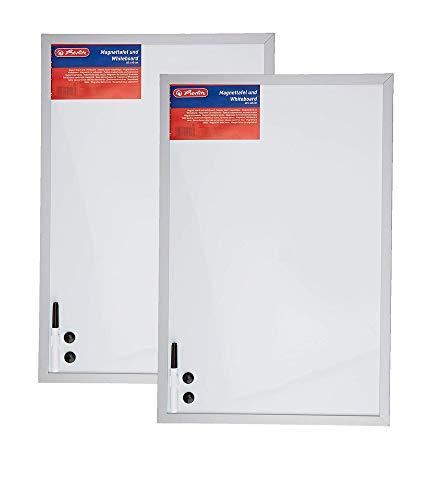 Herlitz 10524627 Whiteboard und Magnettafel (silbernen Holzrahmen, 40 x 60cm) weiß (2 Stück)
